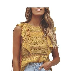 Tops - Mustard Yellow Lace Top